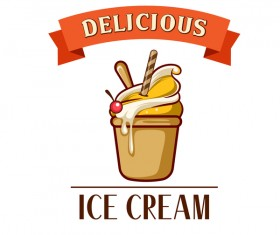 Ice cream label design vector 02