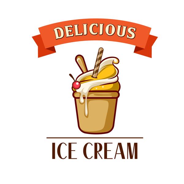 Ice cream label design vector 02