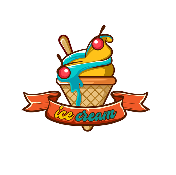 Ice cream label design vector 03