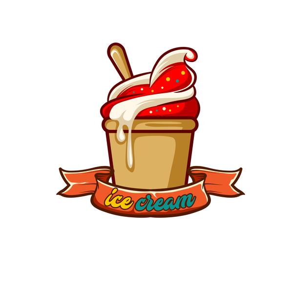 Ice cream label design vector 05