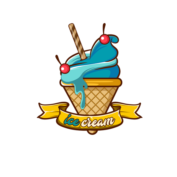 Ice cream label design vector 06