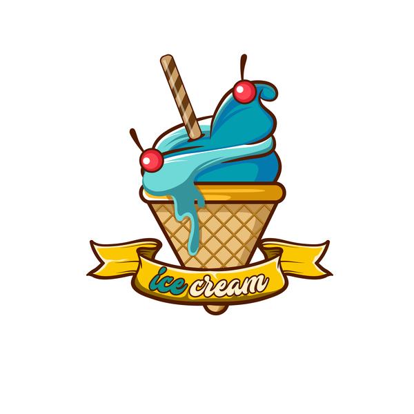 Ice cream label design vector 06