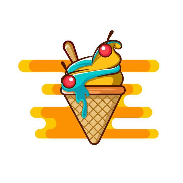 Ice cream label design vector 07
