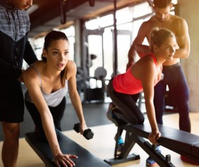 Instructors who teach girls fitness Stock Photo