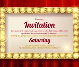 Invitation card with diamond frame vector material 01