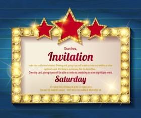 Invitation card with diamond frame vector material 02