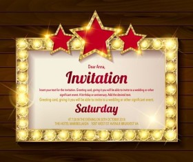 Invitation card with diamond frame vector material 03