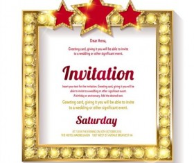 Invitation card with diamond frame vector material 05