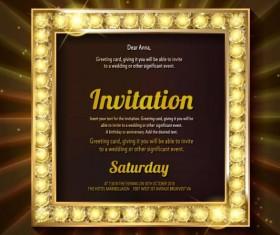 Invitation card with diamond frame vector material 06