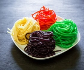 Italian colorful pasta Stock Photo