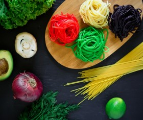 Italian colorful pasta with onions Stock Photo