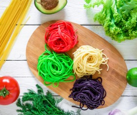 Italian colorful pasta with vegetables Stock Photo 01