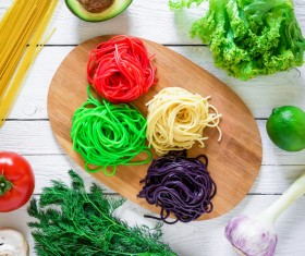 Italian colorful pasta with vegetables Stock Photo 02