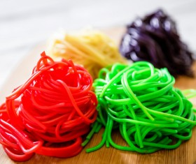 Italian red and green noodles Stock Photo