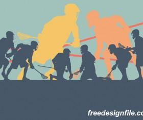 Lacrosse sport design vector silhouette 04