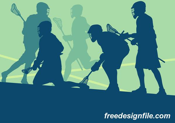 Lacrosse sport design vector silhouette 06