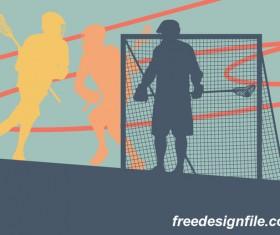 Lacrosse sport design vector silhouette 09
