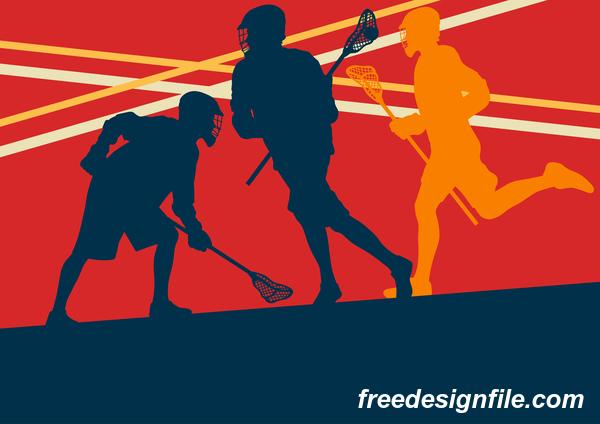 Lacrosse sport design vector silhouette 13