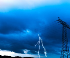 Lightning clouds Stock Photo