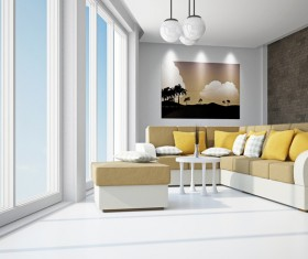 Living room with color sofa Stock Photo 13