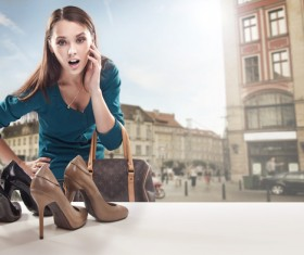 Looking at the window of the woman shoes Stock Photo