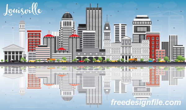 Louisville city landscape vectors