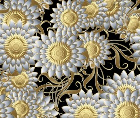 Luxury flowers seamless pattern vectors 01
