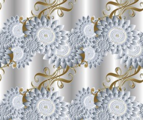 Luxury flowers seamless pattern vectors 02