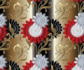 Luxury flowers seamless pattern vectors 03