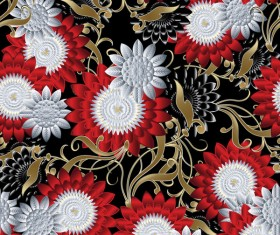 Luxury flowers seamless pattern vectors 04
