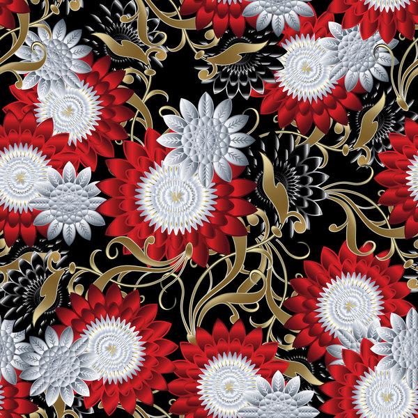 Luxury flowers seamless pattern vectors 04