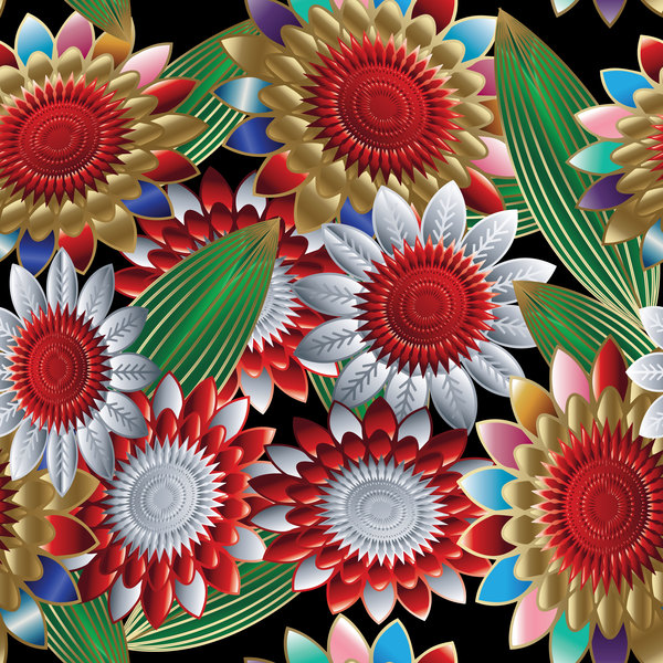 Luxury flowers seamless pattern vectors 06
