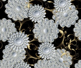 Luxury flowers seamless pattern vectors 08