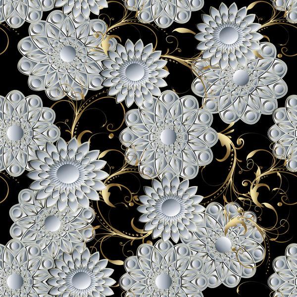 Luxury flowers seamless pattern vectors 08