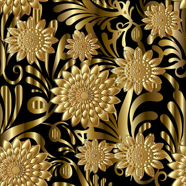 Luxury flowers seamless pattern vectors 09