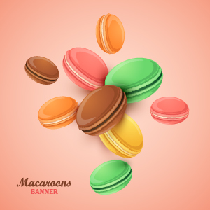 Macaroons with pink background vector