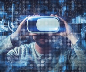 Men with VR glasses touch the virtual screen Stock Photo 03