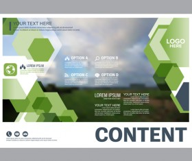 Modern green styles flyer and cover brochure vector template 06