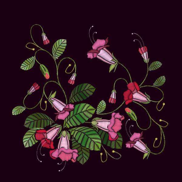 Morning glory flower embroidery vector