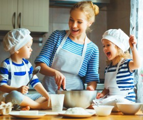 Mother and Child in the kitchen cooking Stock Photo