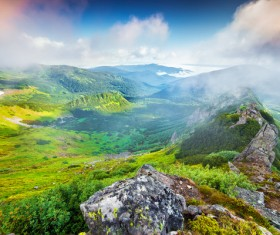 Mountains and fields HD picture