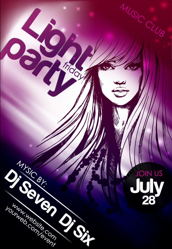 Music club light party poster vector material 01