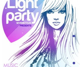 Music club light party poster vector material 04