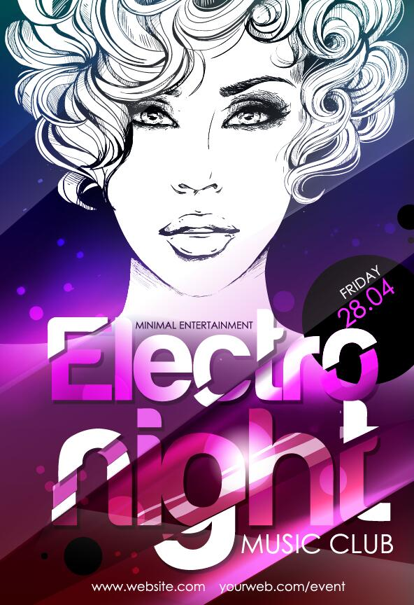 Music club light party poster vector material 05