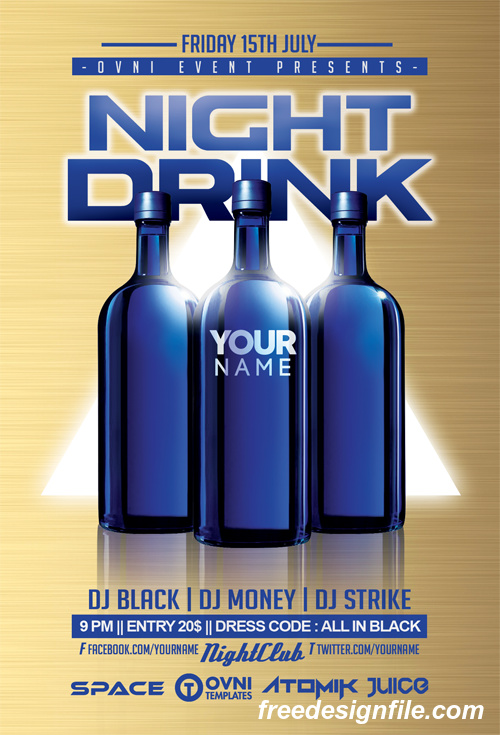 NIGHT DRINK Flyer PSD Template
