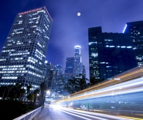 Night city bright lights Stock Photo 04
