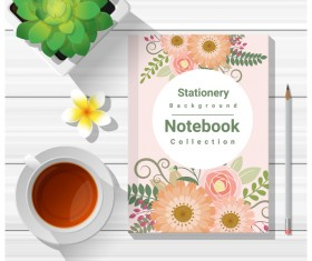 Notebook with wooden table background vector 01