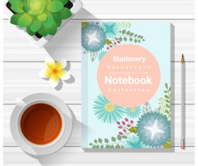 Notebook with wooden table background vector 02