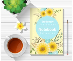 Notebook with wooden table background vector 03