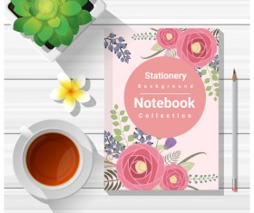 Notebook with wooden table background vector 04